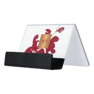 Support Carte De Visite Monogramme métallique floral de carré d'en cuivre