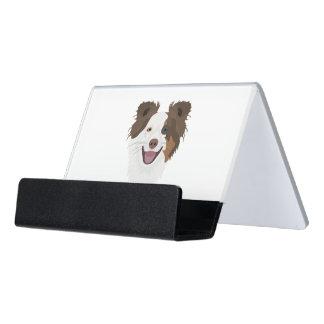 Support Carte De Visite Visage heureux border collie de chiens