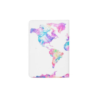 Support de passeport de carte du monde d'aquarelle protège-passeport