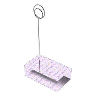 Support pourpre de table d'aquarelle de perles de porte-cartes de  table