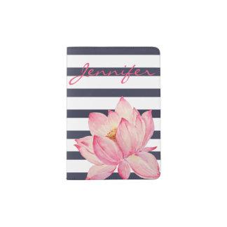 Support rose de passeport de rayures de fleur et protège-passeports