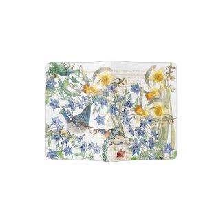 Support vintage de passeport de fleurs d'oiseaux protège-passeport