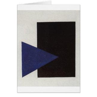 Suprematism avec la triangle bleue et le carré carte de vœux