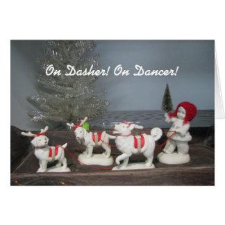 Sur Dasher ! Sur le danseur ! Carte de Noël