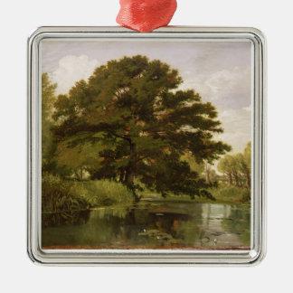 Sur ISIS, Waterperry, Oxfordshire, 1806 (huile Ornement Carré Argenté