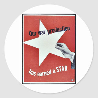 Sur la guerre la production a gagné une étoile adhésif rond