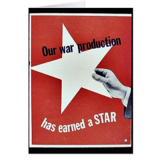 Sur la guerre la production a gagné une étoile carte de vœux