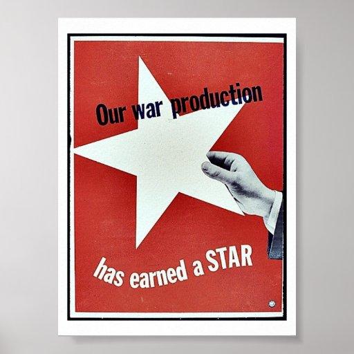 Sur la guerre la production a gagné une étoile affiche