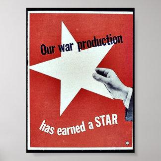 Sur la guerre la production a gagné une étoile poster