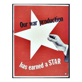 Sur la guerre la production a gagné une étoile prospectus avec motif