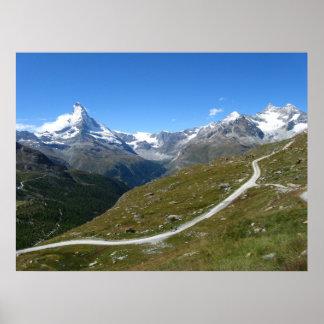 Sur la traînée, vue de Matterhorn, Alpes suisses Poster