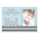 Sur le carte de remerciements bleu de photo de carton d'invitation  12,7 cm x 17,78 cm