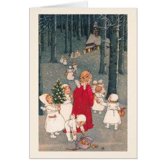 """""""Sur le chemin carte de Noël à église"""""""