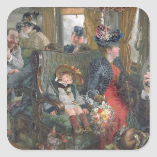 Sur un voyage à la belle campagne, 1892 sticker carré