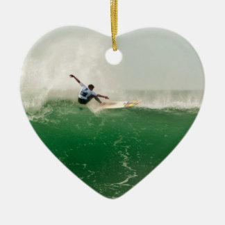 Surf à Biarritz Ornement Cœur En Céramique