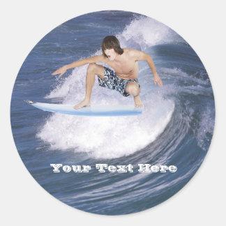 Surf !  Attrapez la vague ! Autocollants Ronds