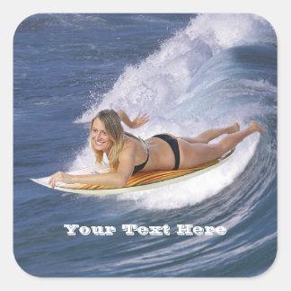 Surf !  Attrapez la vague ! Sticker Carré