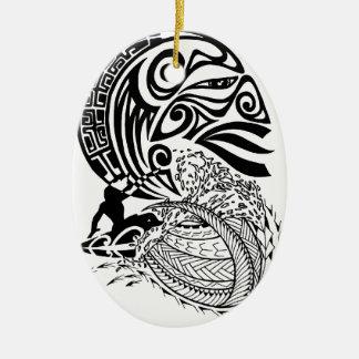 Surf de minuit ornement ovale en céramique