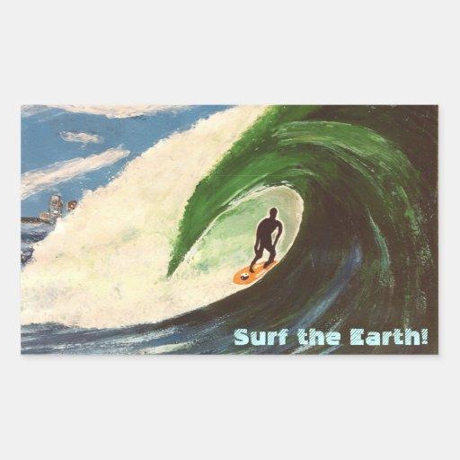 Surf surfant de surfer la terre outre de l'autocol autocollant en rectangle