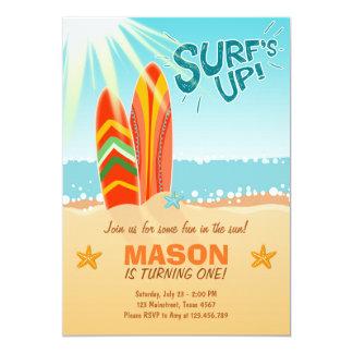 Surf surfant d'invitation d'anniversaire vers le carton d'invitation  12,7 cm x 17,78 cm