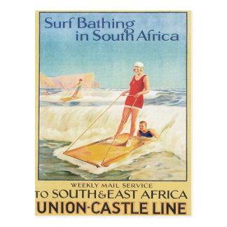Surf vintage baignant l'Afrique du Sud Carte Postale
