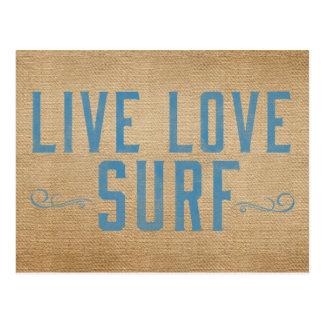 Surf vivant d'amour de toile de jute cartes postales