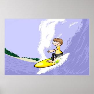 Surfeando les grandes vagues de hawaii poster