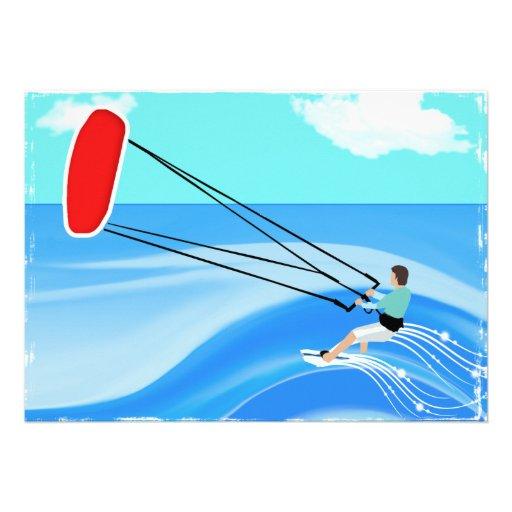 Surfer de cerf-volant faire-part personnalisés