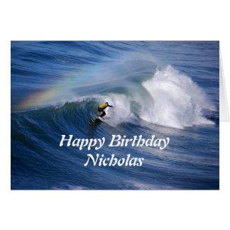 Surfer de joyeux anniversaire de Nicholas avec Carte De Vœux
