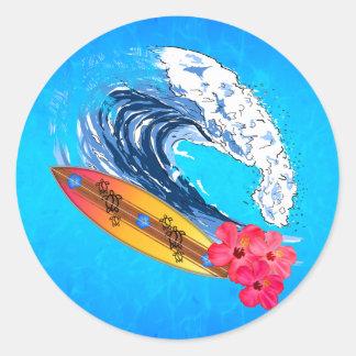 Surfer d'Hawaï Sticker Rond
