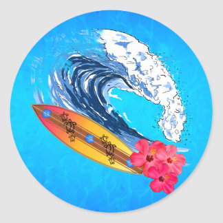 Surfer d'Hawaï Adhésif Rond
