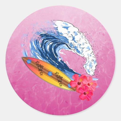 Surfer d'Hawaï Adhésifs Ronds