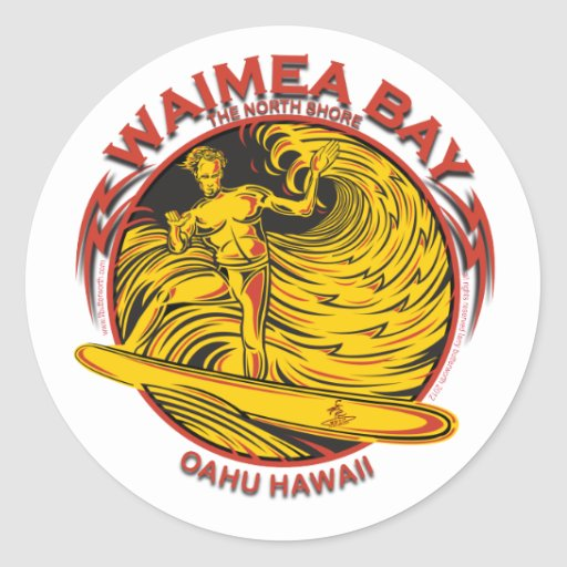 SURFER D'HAWAÏ DE BAIE DE WAIMEA ADHÉSIF ROND