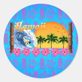 Surfer hawaïen sticker rond
