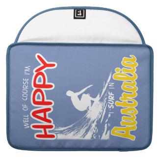 Surfer heureux AUSTRALIE (blanche) Housses MacBook Pro