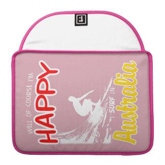 Surfer heureux AUSTRALIE (blanche) Poches Pour Macbook