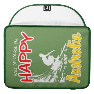 Surfer heureux AUSTRALIE (blanche) Poches Pour Macbook Pro