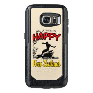 Surfer heureux NOUVELLE ZÉLANDE (noir) Coque OtterBox Samsung Galaxy S7