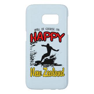 Surfer heureux NOUVELLE ZÉLANDE (noir) Coque Samsung Galaxy S7