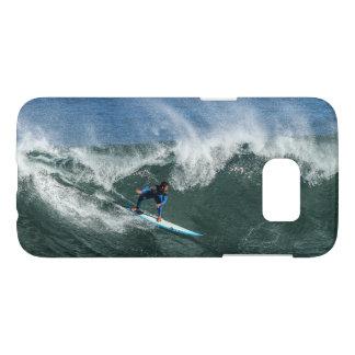 Surfer sur la planche de surf bleue et blanche coque samsung galaxy s7