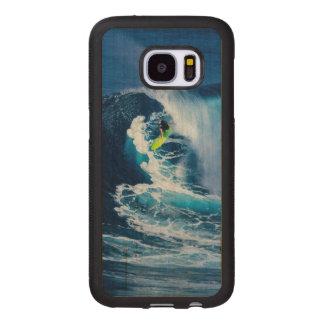Surfer sur la planche de surf verte coque en bois pour samsumg galaxy s7