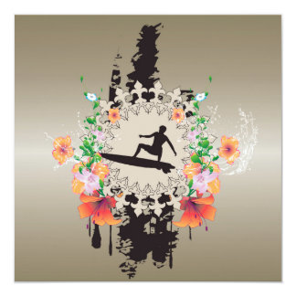 Surfer, surfboarder avec des fleurs carton d'invitation  13,33 cm