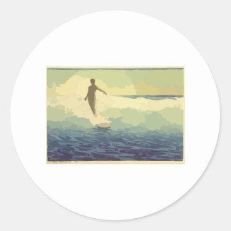 Surfer vintage autocollants ronds