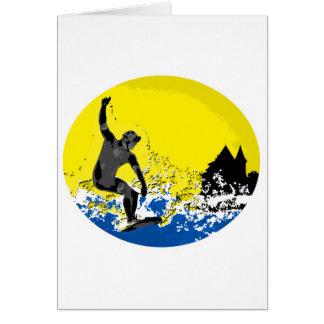 surfeur  basque de Biarritz en action Carte De Vœux