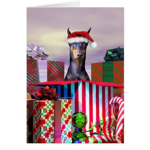 Surprise de Noël de dobermann Cartes De Vœux