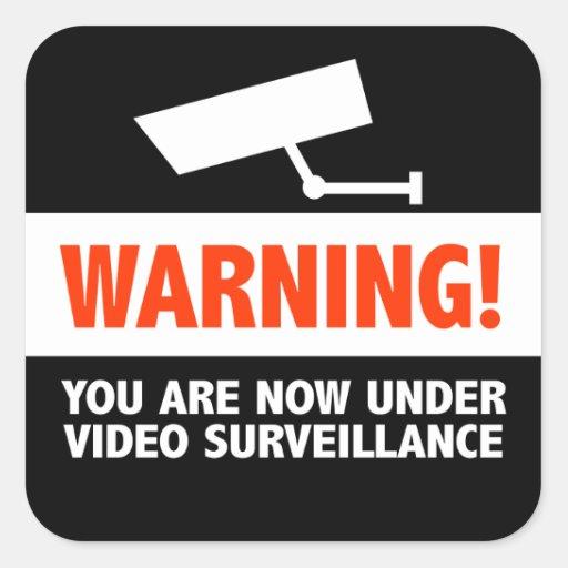 Surveillance de caméra vidéo autocollant carré