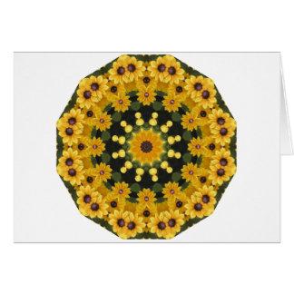 Susans Noir-eyed, mandala floral Carte De Vœux