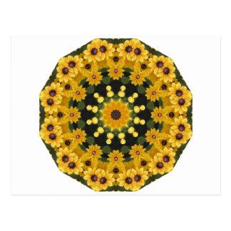 Susans Noir-eyed, mandala floral Cartes Postales