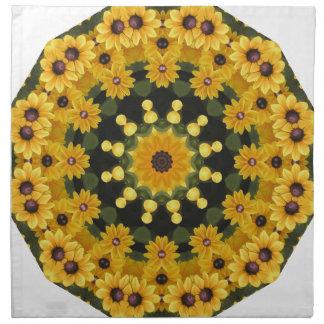 Susans Noir-eyed, mandala floral Serviettes Imprimées
