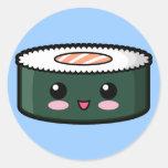 Sushi saumonés heureux autocollants ronds